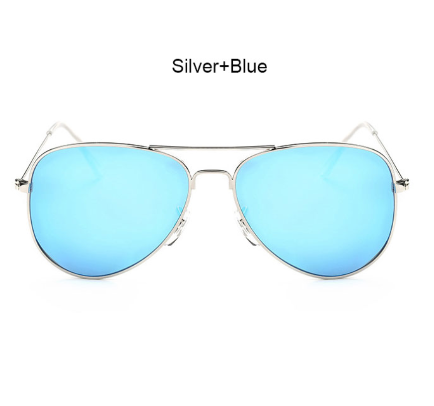 Silver and Blue Aviator Shades