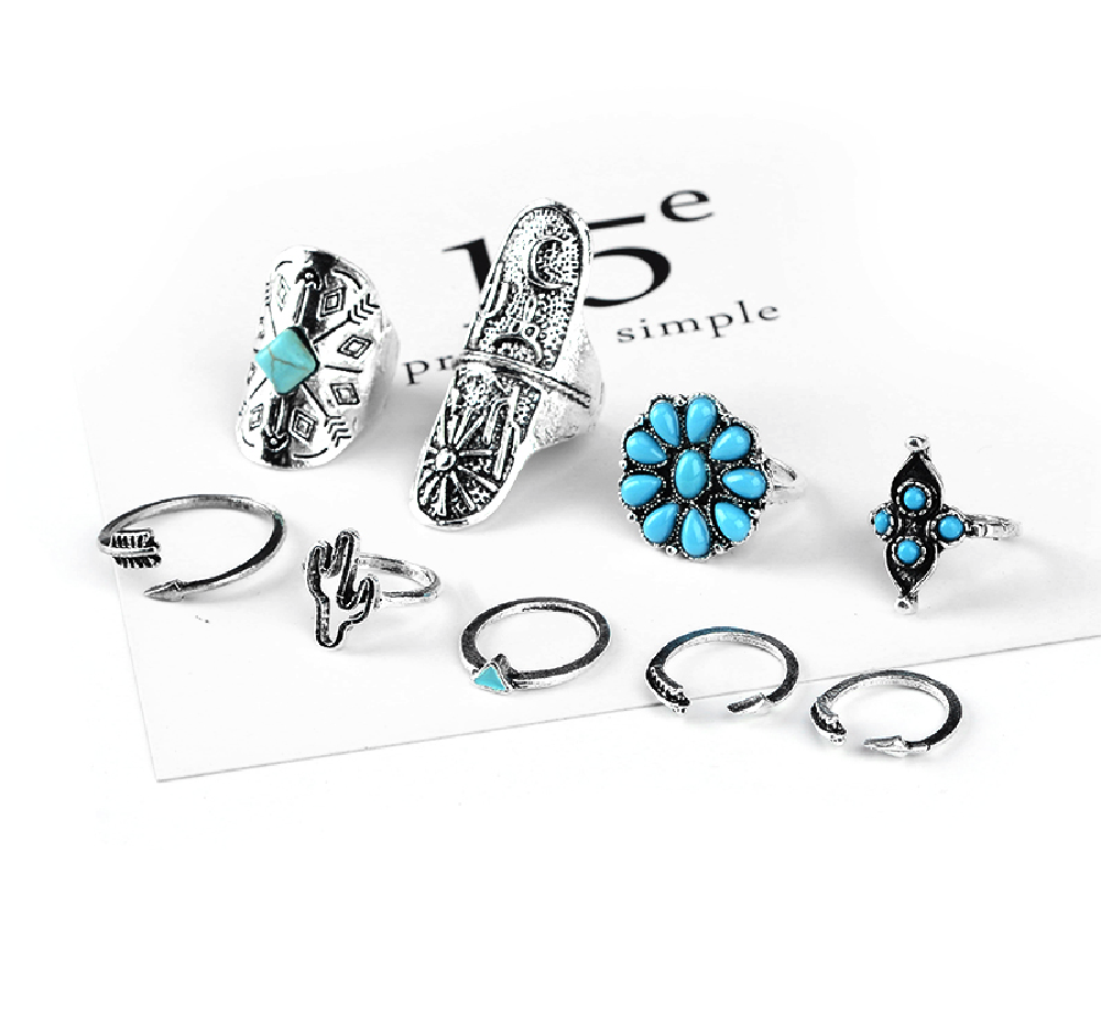 Flower Power 9 Piece Knuckle Ring Set - Antique Silver w/ Turquoise