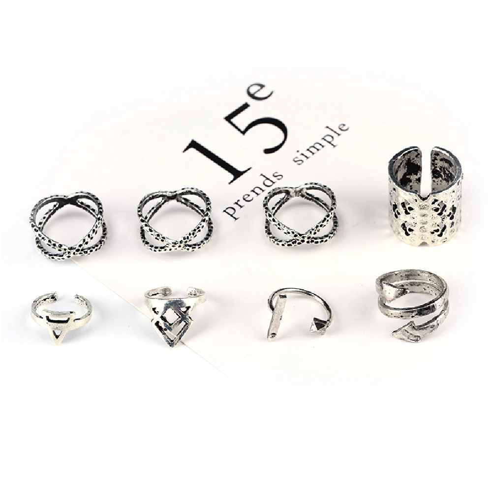Triangle 8 Piece Knuckle Ring Set - Antique Silver