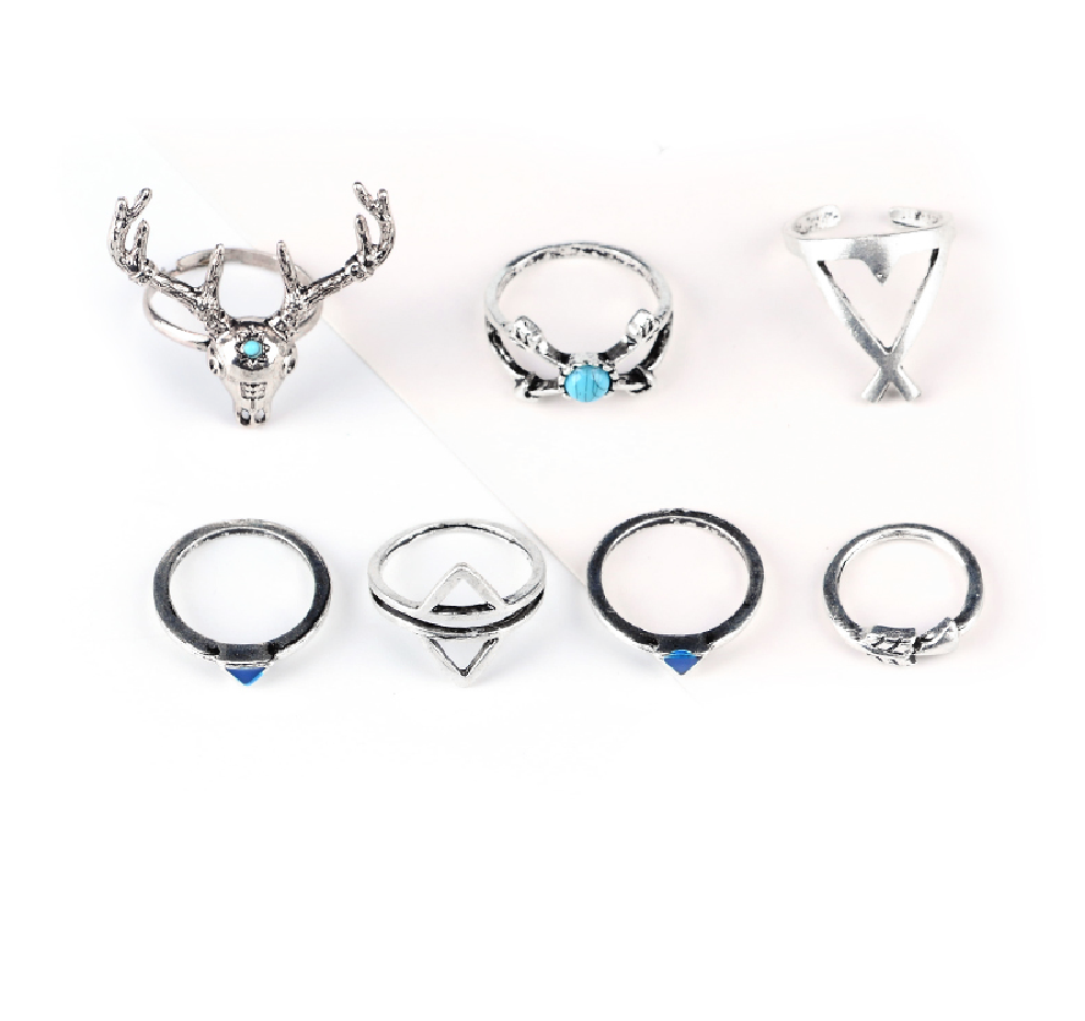 Antler 7 Piece Knuckle Ring Set - Antique Silver & Blue