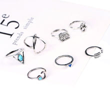 Crescent Moon 7 Piece Knuckle Ring Set - Antique Silver w/ Turquoise or Gold