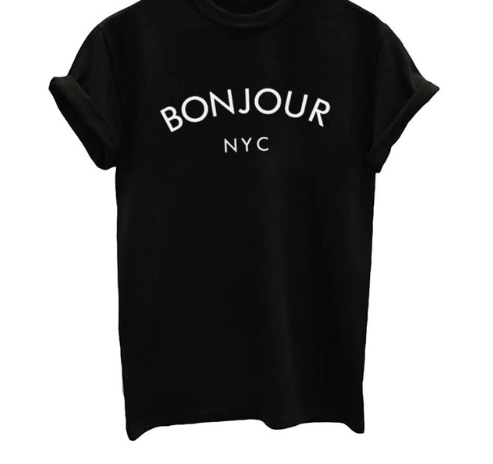 Bonjour from NYC Graphic T Shirt - Black, White or Gray