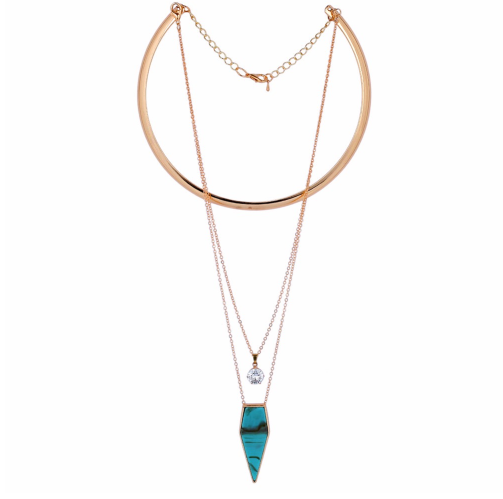Drip of Turquoise Necklace - Golden Finish