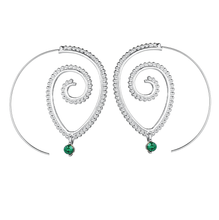 Emerald Swirl Earrings - Gold or Silver Finish