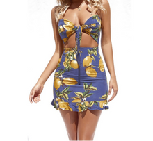 Tie Up Beach Day Dress Lemon print