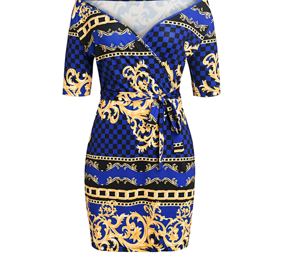 Off the Shoulder Blue Mini Dress - Gold Chains Graphic Dress - Larger sizing available