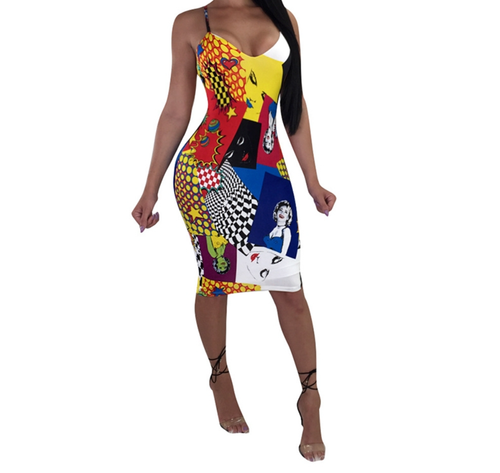 Hot Miami Shades Famous Comic Dress - Best Seller - Checkerboard Dress - Cartoon Graphics Party Dress - Plus Sizing Party Dress Available