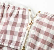 Nude/Brown and White Checkered Plaid 2 piece pant set - A Travel Must Have!