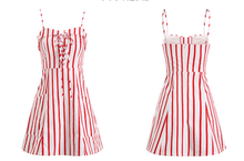 Sailor Red & White Cotton Tie Up Beach Dress - Red and White Striped Sailor Dress