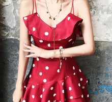 Polka Dot Light Satin Ruffled Day Dress