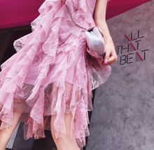 Ruffled Lace Pink Dress - Go from Day to Night in this amazing piece!