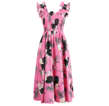 My Fair Lady Perfect Pink Cotton Ruffled Day Dress - Below the Knee Ruffled Day Cotton Dress