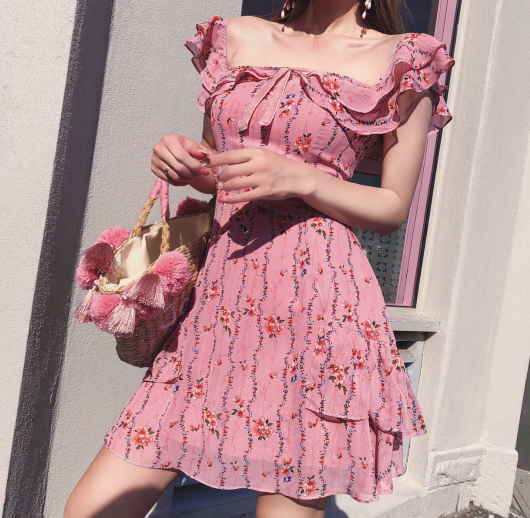 Chiffon Off the Shoulder Perfect Ruffled Day Dress
