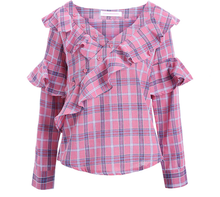 Pink or Red Plaid Long Sleeve Ruffle Day Shirt - Cotton - So comfy!