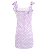 My Perfect Polka Dot Ruffled Dress- Bow Tie Sleeves - Mini Polka Dot Dress - Purple or White Polka Dots Mini Dress