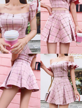 2 Piece Set - Top & Bottom 'Bahamas Pink Plaid Set' - Ruffled Plaid Top with Pleated Plaid Skirt