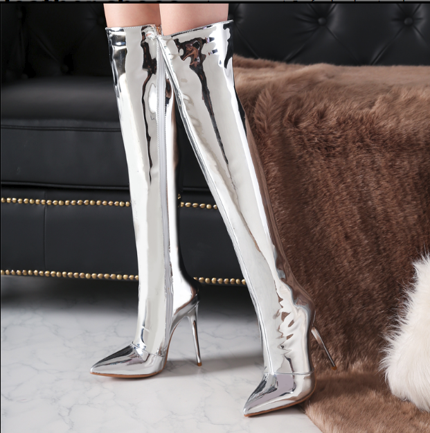 Hot Miami Shades Silver Pole Stiletto Over The Knee Boots - Silver or Rose Gold