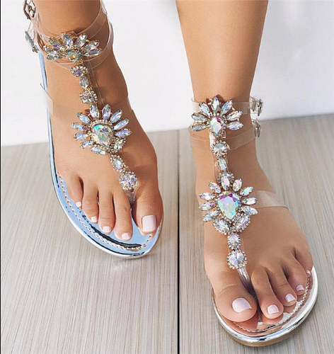 Hot Miami Shades Rhinestoned Flat Sandals
