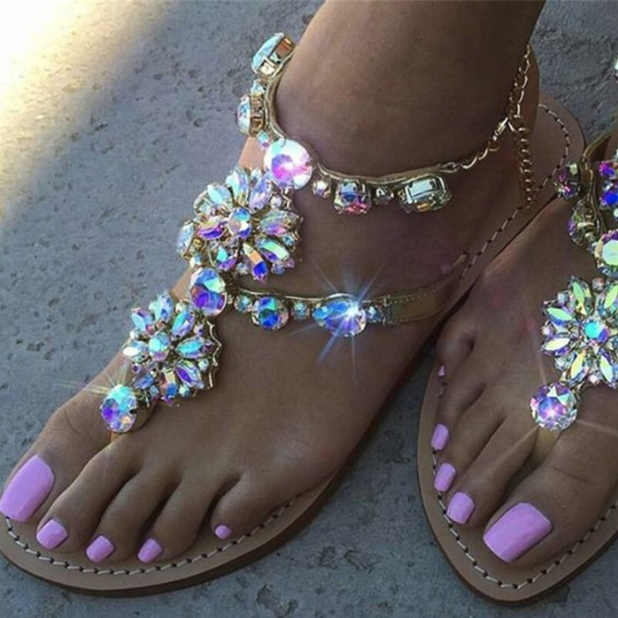 Hot Miami Shades Ladies Rhinestoned Sandals