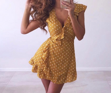 Hot Miami Shades Strapless V Neck Dot Dress