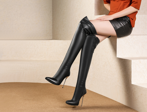 Hot Miami Shades Leather Over The Knee Boots - Black or Red