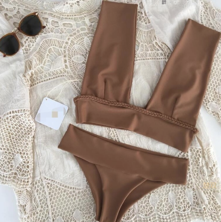 Hot Miami Shades Fit Look Solid Bikini