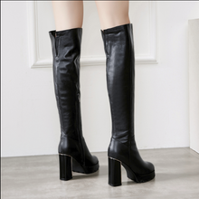 Hot Miami Shades Waterproof Thick High-Heeled Leather Boots