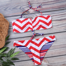Hot Miami Shades Colorful Stripe Bandeau Bikinis 2019