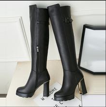 Hot Miami Shades Waterproof Thick High-Heeled Plus Fertilizer Leather Boots
