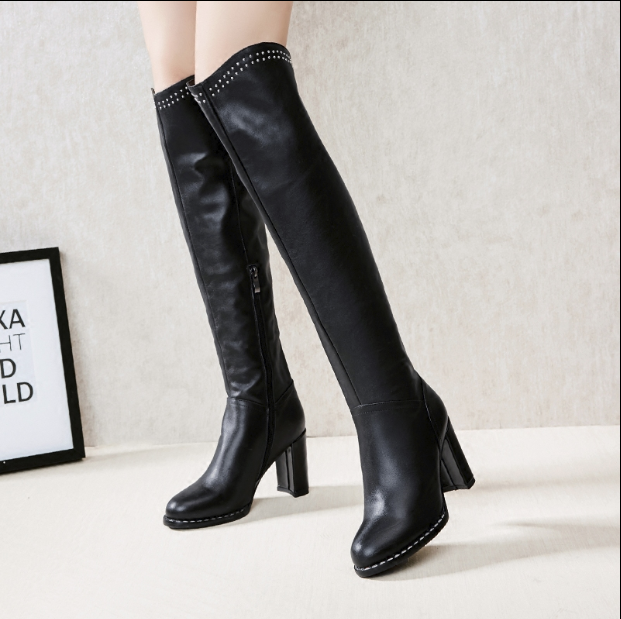 Hot Miami Shades Thick High-Heeled Large Over The Knee Boots