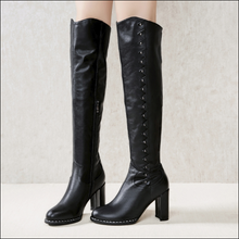 Hot Miami Shades Large Barrels Over The Knee Leather Boots