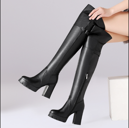 Hot Miami Shades Waterproof Platform High-Heeled Knee Boots