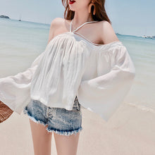 Hot Miami Shades Collar Halter Hanging Neck Trumpet Sleeves Tops Sun Shirt