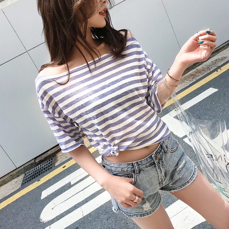 Hot Miami Shades Loose Word Shoulder Stripe Knitted Short-Sleeved Shirt