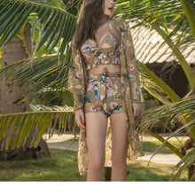 Hot Miami Shades Three-piece Bikini with Long-sleeved Blouse