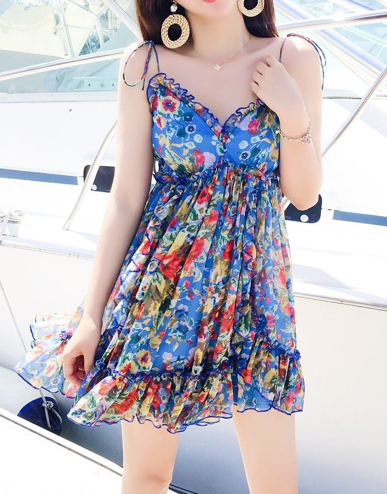 Hot Miami Shades Waist Lotus Leaf Floral Backless Sleeveless Chiffon Dress