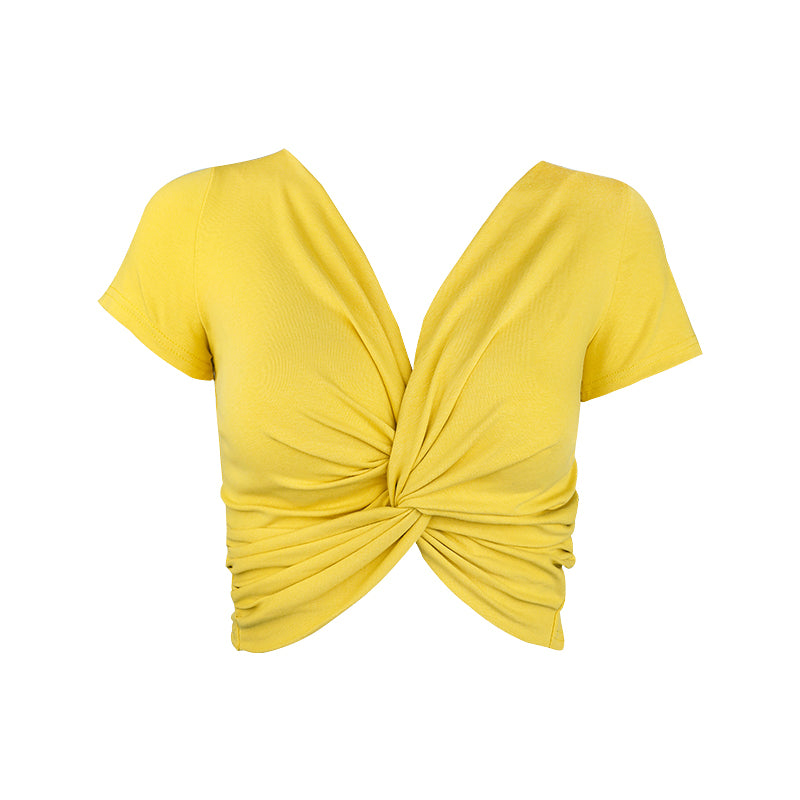 Knot Top - Yellow or Black Crop Top