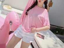 Hot Miami Shades Wild Loose Thin Backless Round Neck Short-Sleeved T-Shirt