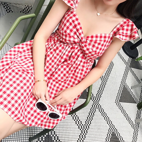 All American Cotton Dress - Red Sweetheart Picnic Dress