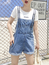 Hot Miami Shades Multi-Pocket Curling Denim Shorts Female Detachable Bib