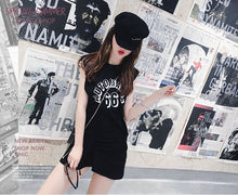 Hot Miami Shades Knitting Letter Printing Sleeveless T-Shirt Skirt