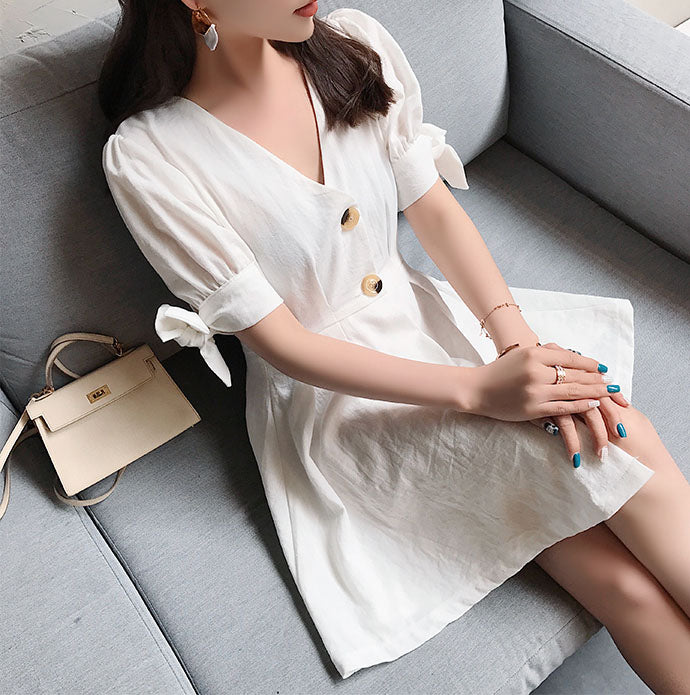 Hot Miami Shades High Waist V Collar Puff Sleeve Cotton And Linen Dress Shirt Skirt