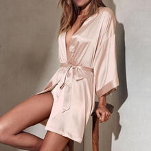 Robe Champagne Pink Silky Feel / Dressing Gown Pajamas Robe