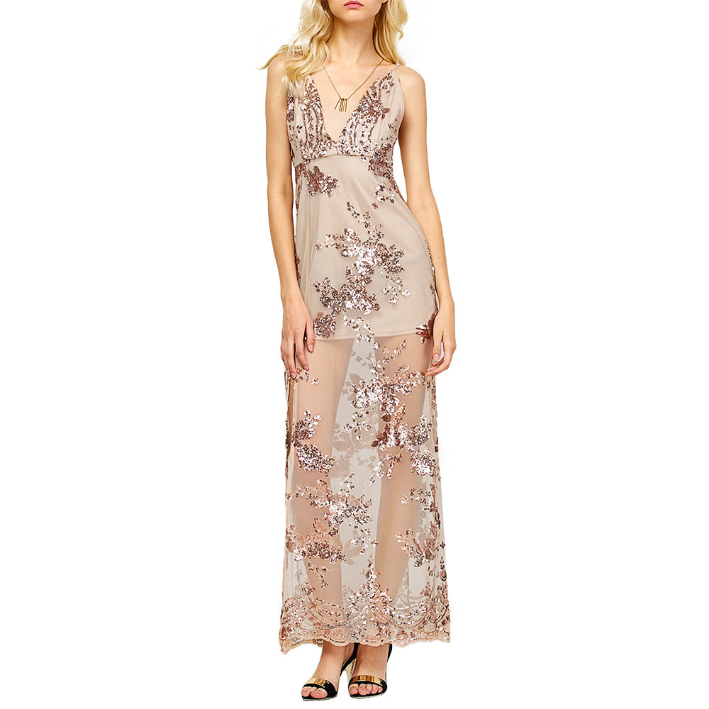 Sexy Transparent Night Dress - Nude Tan or Black with Tan Underlay - High Slit