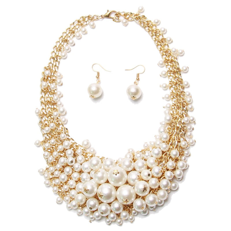 Hot Miami Shades Simulated Pearl Necklaces Earring Set