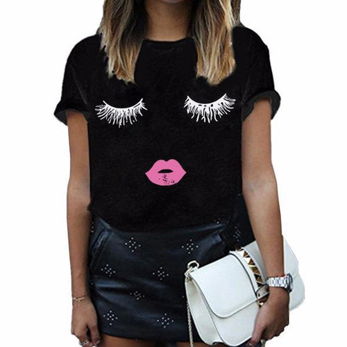 Eye Lashes Winky Graphic T Shirt - White Black or Grey