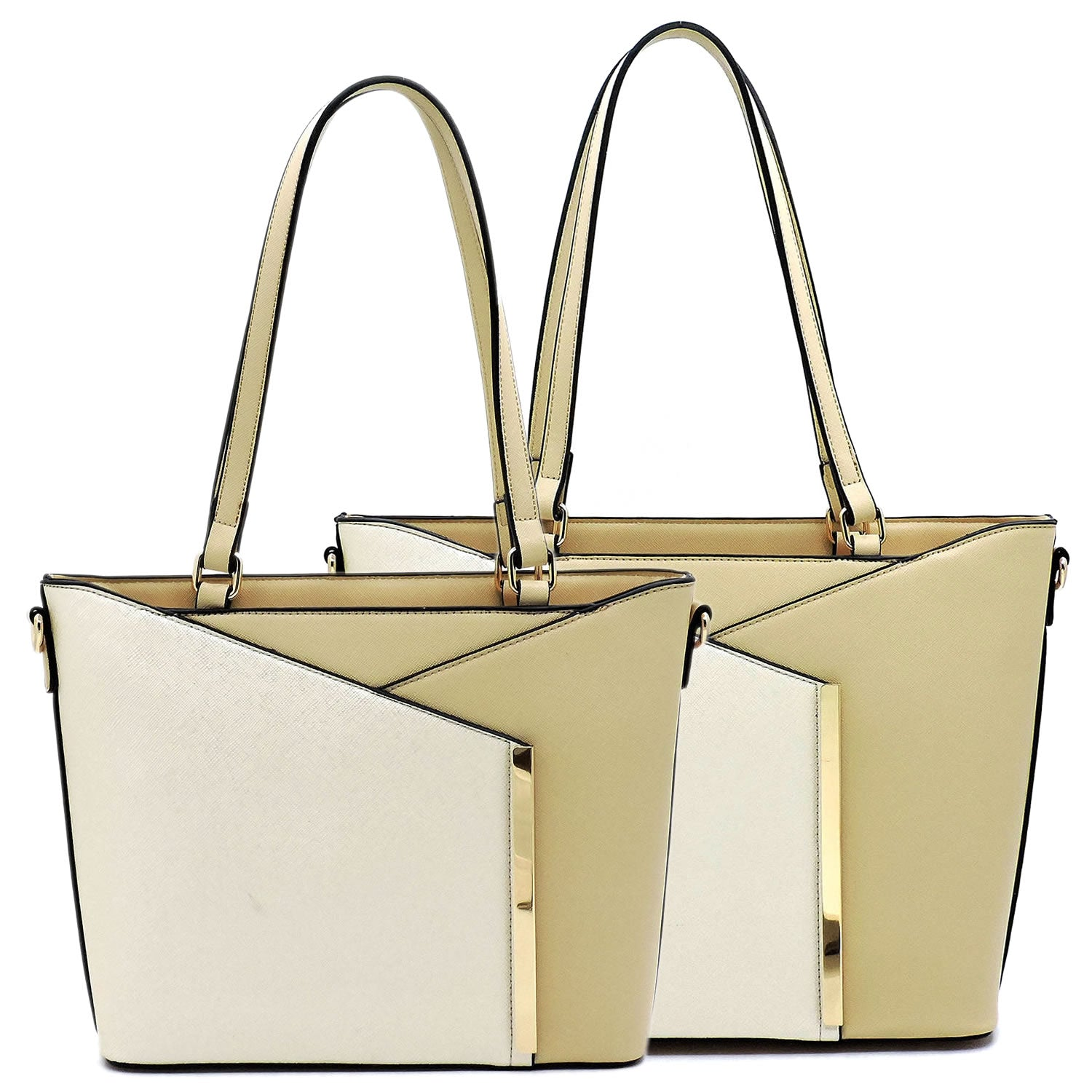Colorblock 2-in-1 Handbag Set Khaki/Cream