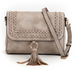 Whipstitch Flap-over Crossbody Light Stone