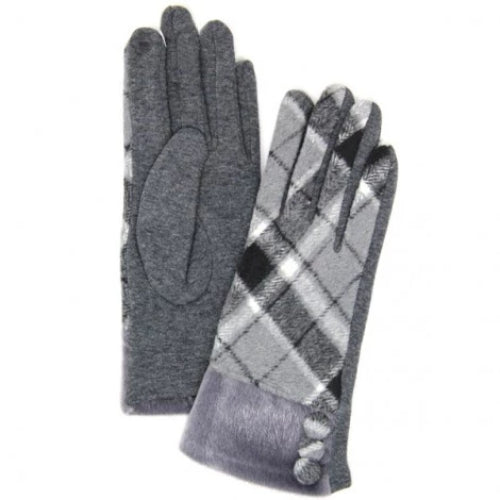 Plaid Smart Glove w/ Faux Fur and Button Accent Grey