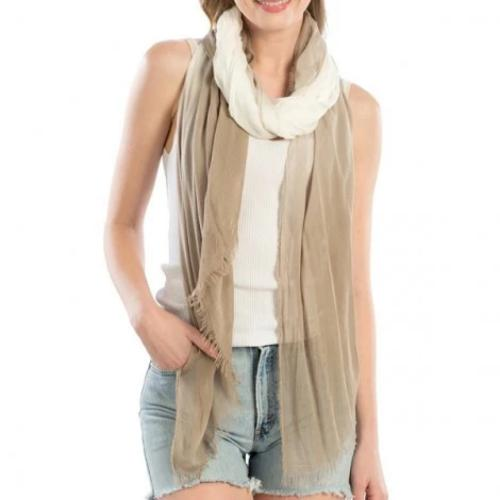 Two-Tone Soft Oblong Scarf Beige
